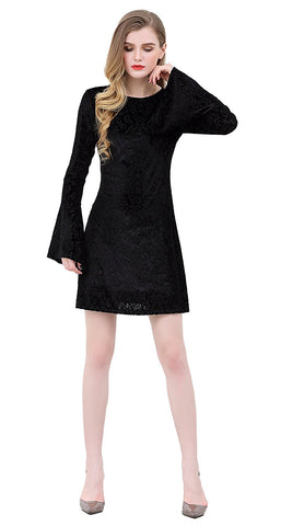 Velvet Burnout Dress Long Bell SLeeves, Lined