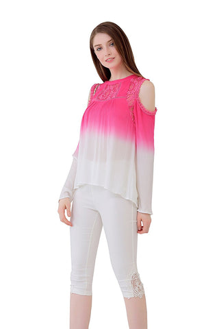 UP Ultrapink Juniors & Womens Cold Shoulder Ombre Blouse Crochet Lace Inserts
