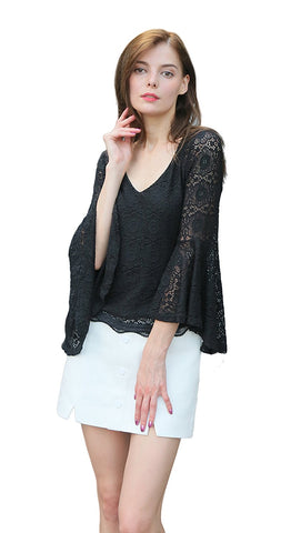 Long Trumpet Sleeve Allover Crochet Blouse, Lined