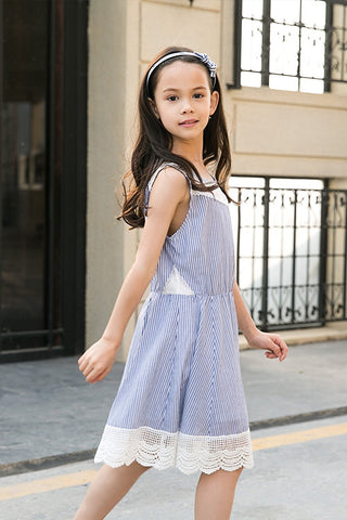 Sleeveless Embroidered Chambray Stripe Lace Hem FitnFlare Dress