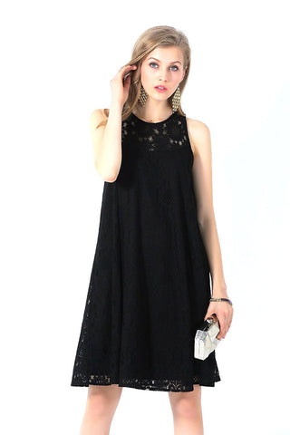 Black Classy Allover Lace Sleeveless Trapeze Dress
