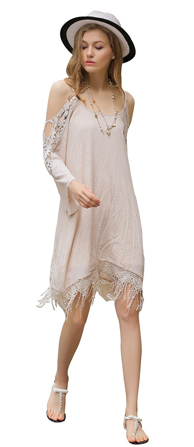 Cold Shoulder Tent Dress Trapeze with Crochet Inserts