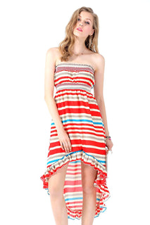 Ultrapink Juniors Trendy Striped Hi Low Tube Dress Smock Bust and Waist