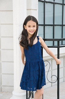 Ultrapink Girls Spaghetti Strap Pompom Lace Trim Ruffle V Back Fit n Flare Dress