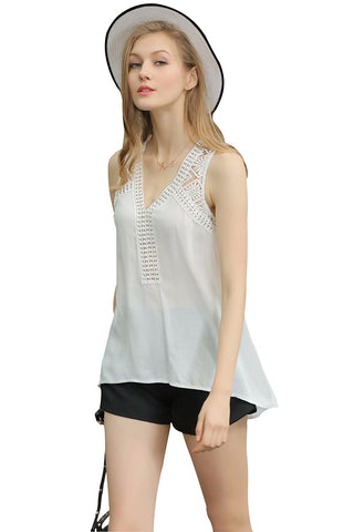 Hi Low Hem Designer Rayon Top with Crochet Inserts