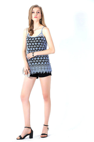 Ultrapink Spaghetti Crochet Tank Top For Juniors & Women
