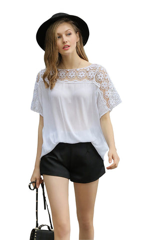 Short Sleeve Blouse Crochet Insert at Sleeve/ Shoulder