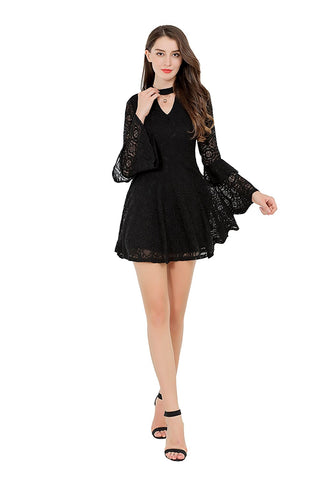 Fit And Flare Lace Dress Long Ruffled Bell Sleeves