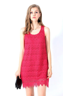 Ultrapink Missy Chic Allover Crochet Sleeveless Trapeze Dress Racer Back