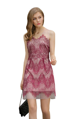 Ultrapink Missy Womens Lace Layover Mesh Shift Dress, Contrast Lining
