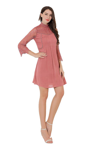 Crepe Long Sleeve Lined Dress With Pintucks