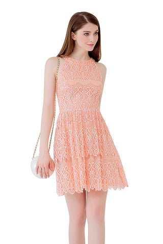 UP Ultrapink Junior Womens Allover Lace Halter Dress Mesh Inserts Fit n Flare