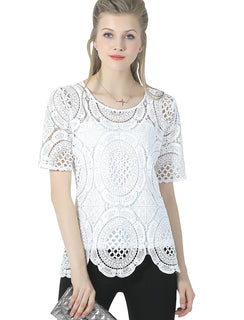 Ultrapink Missy Womens Short Sleeve Allover Crochet Scallop Hem Chic Blouse