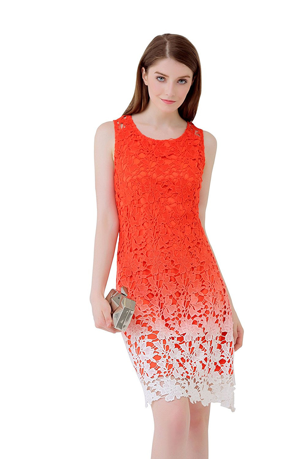 Ombre Crochet Scallop Hem Exposed Back Shift Dress