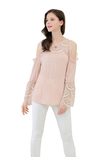 UP Ultrapink Missy Womens Crinkle Gauze Lace Blouse Long Cold Shoulder Sleeve