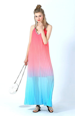 Ultrapink Juniors Spaghetti Straps Ombre Maxi Dress Chiffon Designer Must Have