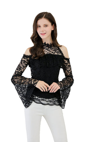 Lace Blouse Ruffle At Bust Crochet Trimmed Halter
