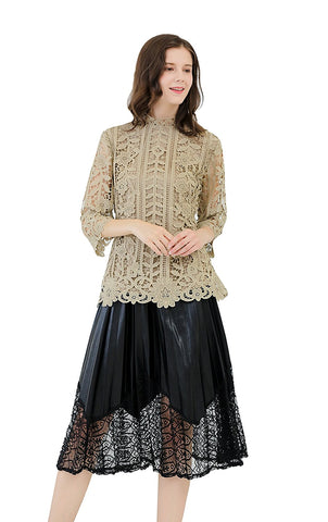 3/4 Bell Sleeves Allover Crochet Mock Neck