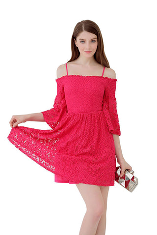 UP Ultrapink Junior Womens Allover Lace Spaghetti Dress Smocked Bust Fit n Flare
