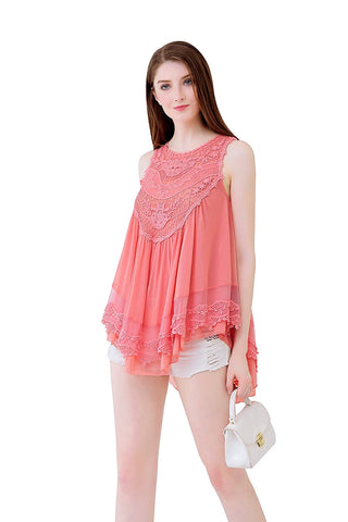 Babydoll Top in Double Layered Mesh Crochet Bib