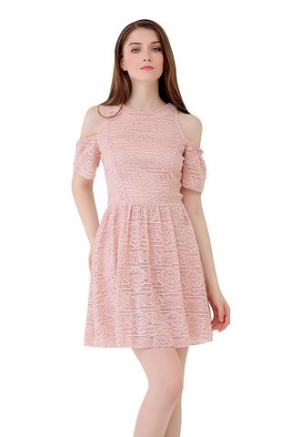 UP Ultrapink Junior & Womens Allover Lace Halter Dress Cold Shoulder Fit n Flare
