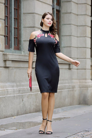 Cold Shoulder High Neck Dress Floral Embroidery