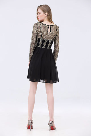 Shimmer Bodice Long Sleeves Solid Bottom Dress