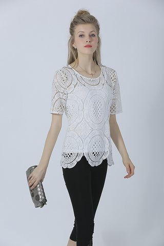 Short Sleeve Allover Crochet Scallop Hem Chic Blouse