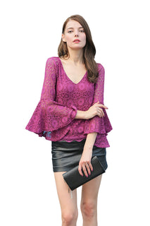UP Ultrapink Junior Womens Long Trumpet Sleeve Allover Crochet Blouse, Lined