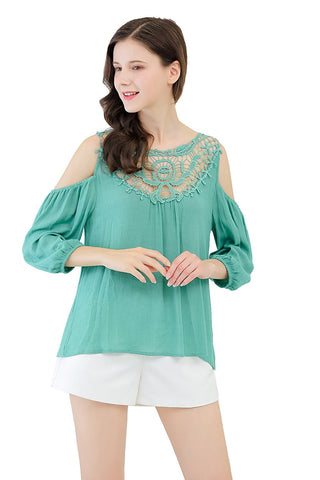 Blouse Crochet Bib Cold Shoulder