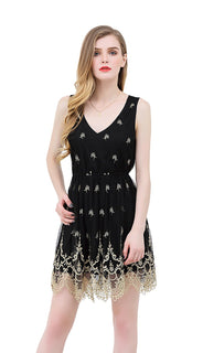 UP Ultrapink Junior Womens Mesh Embroidered Woven Fit and Flare Designer Dress