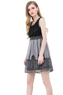 UP Ultrapink Junior Womens Woven Crinkle Chiffon Dress Sequins Top Lace Trim Bottom