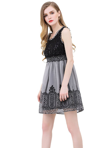 Crinkle Chiffon Dress Sequins Top Lace Trim Bottom