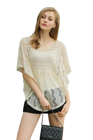 Flutter Sleeve Allover Lace Blouse with Crochet Insert