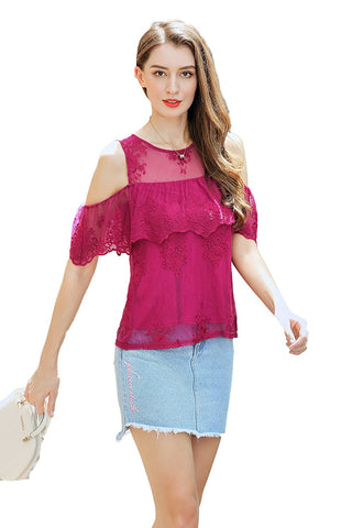 Cold Shoulder Short Sleeve Embroidered Mesh Blouse