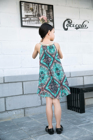 Sleeveless Paisley Print Gold Braided Halter Neck Trapeze Dress