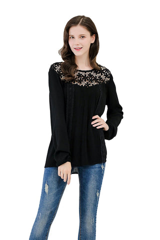 Crinkle Gauze Long Sleeve Blouse Crochet Illusion Yoke