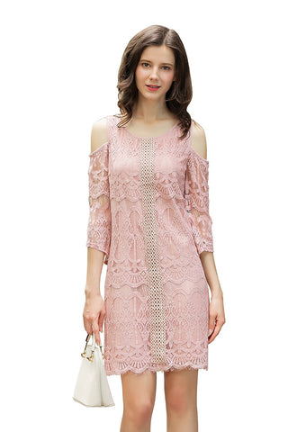 Lined Lace Dress 3/4 Sleeve Cold Shoulder Shift Dress