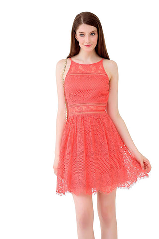 Allover Lace Halter Illusion Yoke Fit n Flare Dress