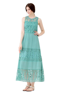 UP Ultrapink Junior Womens Designer Maxi Dress Racer Back Elastic Waist Crochet