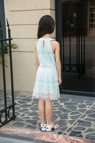 Allover Lace Sleeveless Halter Banded Neck Fit n Flare Dress