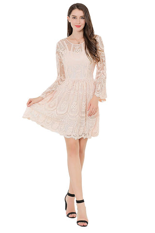 Long Sleeve Fit And Flare Dress Allover Embroidery