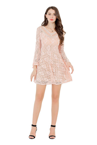 UP Ultrapink Junior Womens Double Deep V Neck Long Sleeve Lace Dress Lined