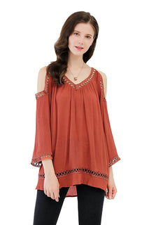 UP Ultrapink Missy Womens Woven Blouse 3/4 Sleeves Cold Shoulder