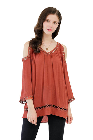 Blouse 3/4 Sleeves Cold Shoulder
