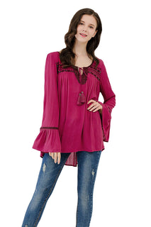 UP Ultrapink Junior Womens Woven Long Sleeve Blouse Smocking