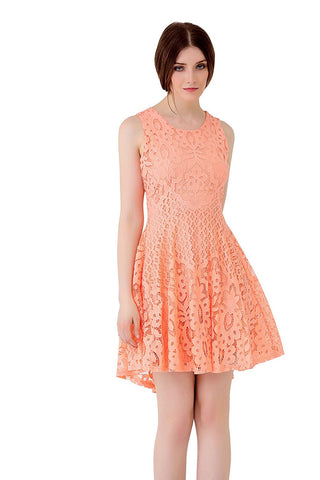 UP Ultrapink Junior Womens Designer Fit n Flare Hi Low Lace Dress Cutout Back