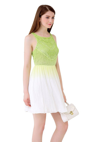UP Ultrapink Junior Womens Designer Ombre Fit n Flare Dress Crochet Bodice Lined