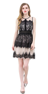 UP Ultrapink Junior Womens Woven Dress Lace Mesh Sheer Neck Tiered Hem Fit n Flare