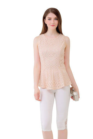 Sleeveless Allover Lace Designer Peplum Top, Lined